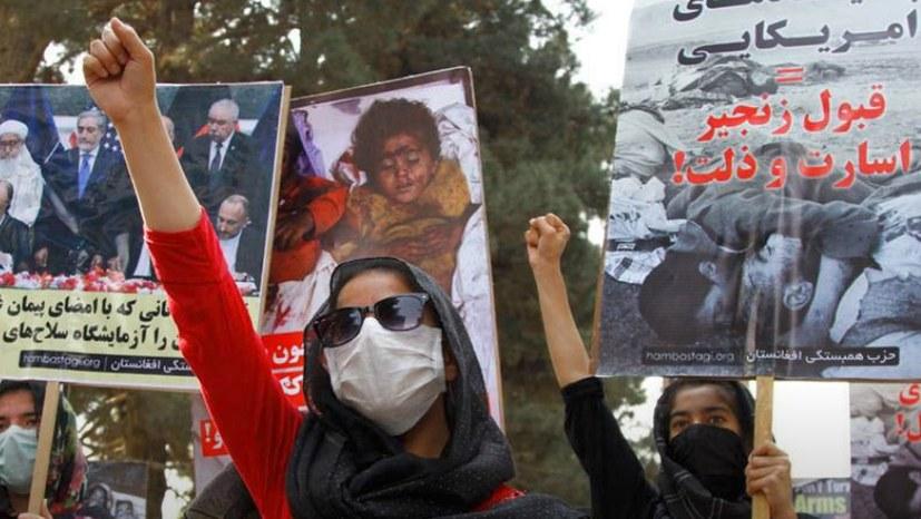 Protest der Solidarity Party of Afghanistan (SPA) verurteilt die Besatzung durch USA