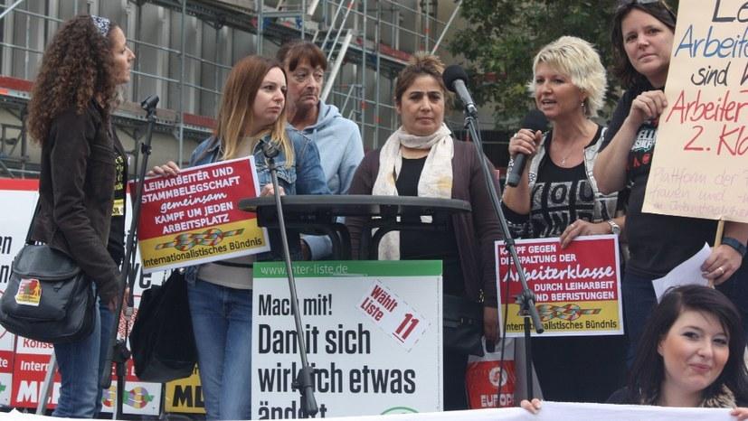 Protest gegen Kündigung der Leiharbeiter bei VW in Wolfsburg