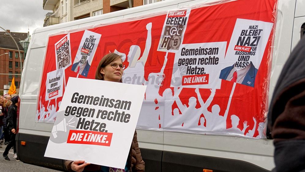 Wagen der Linkspartei bei der Demo gestern in Hamburg (rf-foto)