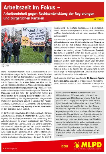 Arbeitszeit im Fokus - Arbeitereinheit gegen Rechtsentwicklung der Regierung und bürgerliche Parteien