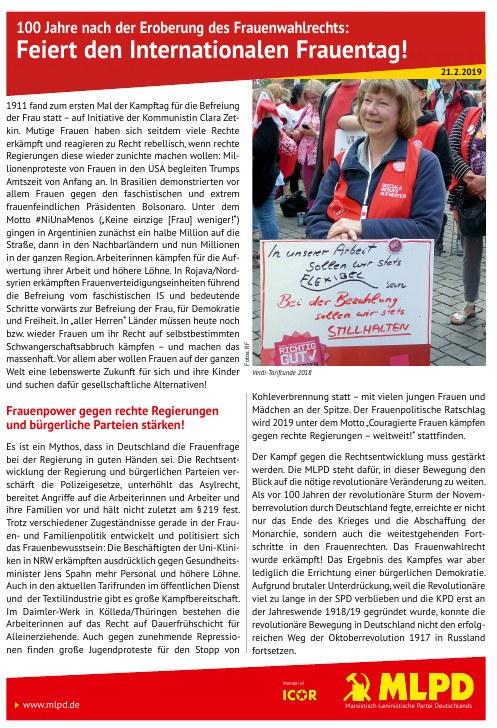 100 Jahre nach der Eroberung des Frauenwahlrechts: Feiert den Internationalen Frauentag!