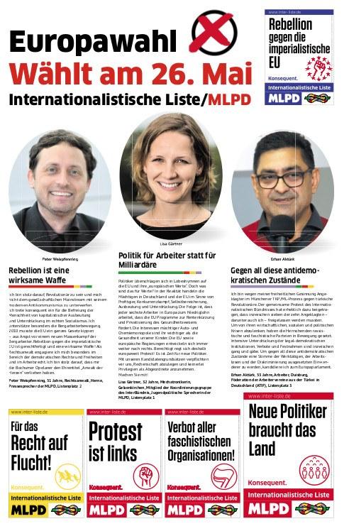 Europawahl 2019 - Wählt am 26. Mai Internationalistische Liste / MLPD