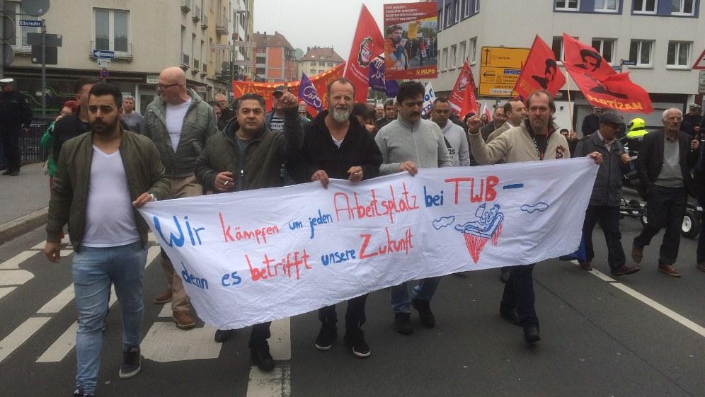 In Hagen setzten die Kolleginnen und Kollegen von TWB durch, dass sie auf der DGB-Kundgebung reden konnten (Foto: RF)