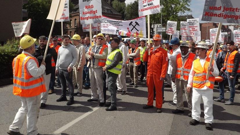 Kämpferische, selbständige Bergarbeiterdemonstration in Bottrop