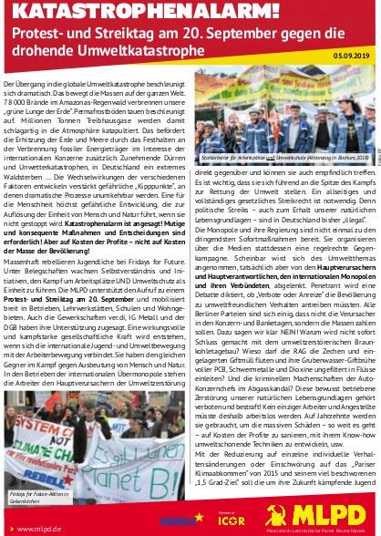 Katastrophenalarm! Protest- und Streiktag am 20. September gegen die drohende Umweltkatastrophe