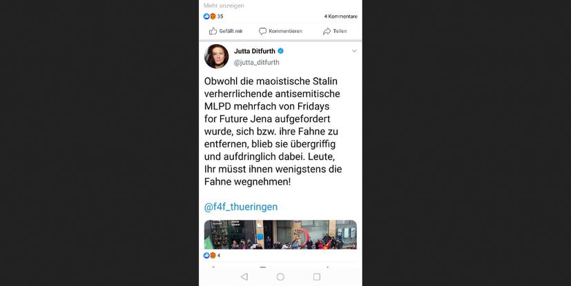 Ruft Jutta Ditfurth zum Fahnen-Diebstahl auf?