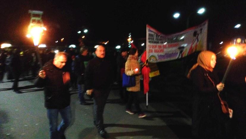Kämpferische Aktion vor Schacht Haniel in Bottrop