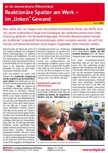 """""""Reaktionäre Spalter am Werk - im 'linken Gewand"""""""