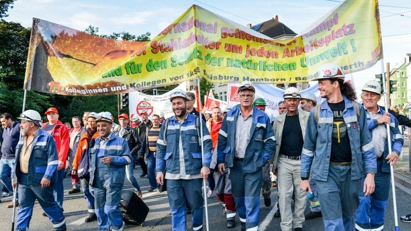 """""""Alle Stahlarbeiter gemeinsam - Streik ist die richtige Antwort"""""""