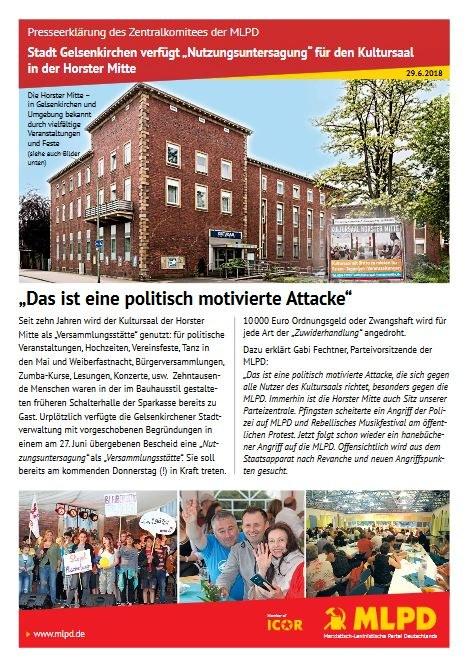 """Stadt Gelsenkirchen verfügt """"Nutzungsuntersagung"""" für den Kultursaal in der Horster Mitte"""